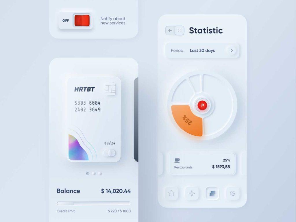 Neumorphism design app and website design trends 2020