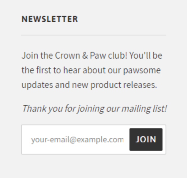 Email Marketing Tips Example Crown and Paw