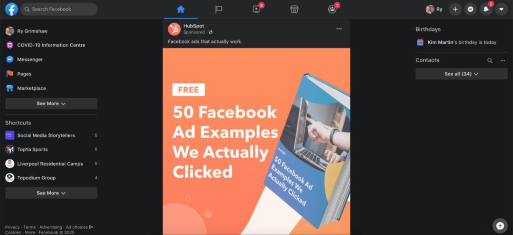 Facebook Platform Showcasing Dark Mode App and Website Design Trends