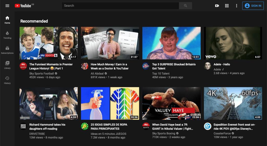 YouTube Dark Mode App and Website Design Trends 2020