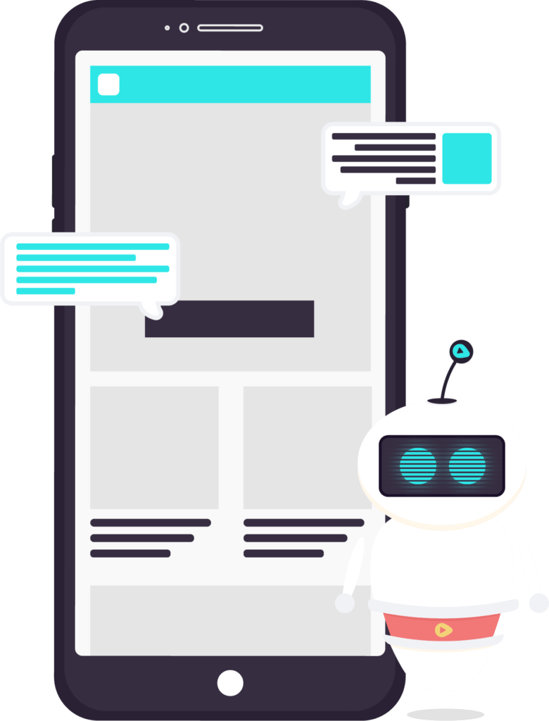 robot and website on mobile phone