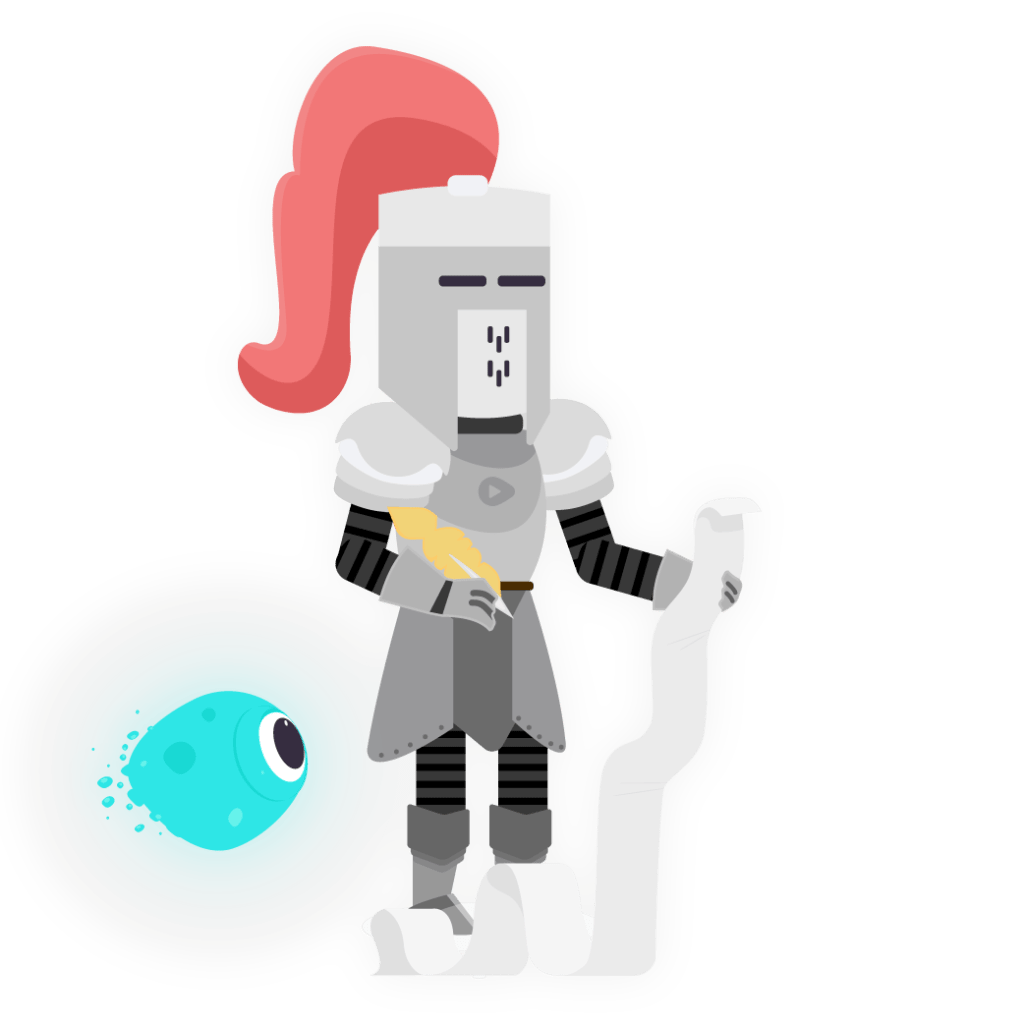 knight writing content on a scroll with blob floating past