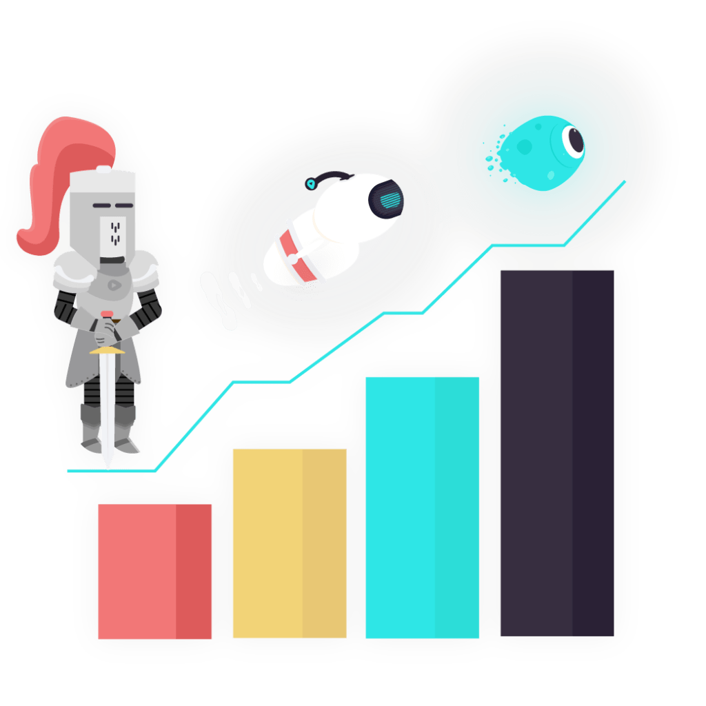 knight robot. and blob showing growth graph